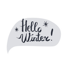 hello winter hand lettering inscription on white vector image