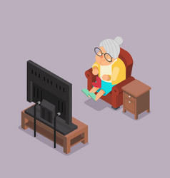isometric 3d old lady watching tv sit armchair vector image