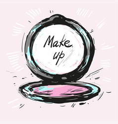 make up powder hand drawn fashion vector image
