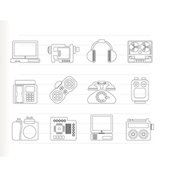 media and technical equipment icons vector image