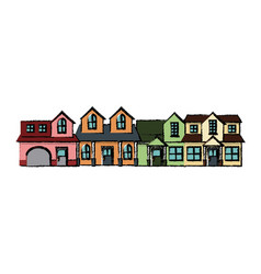 neighborhood residential building suburban home vector image