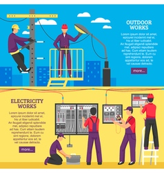 People Doing Electrical Works Horizontal Banners vector image