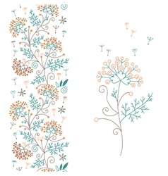Seamless floral border and flower vector