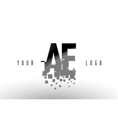 Ae a d pixel letter logo with digital shattered vector