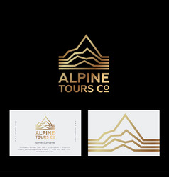 alpine mountains tours peaks logo travel vector image