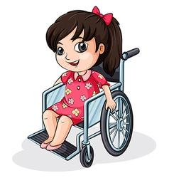 An Asian girl riding on a wheelchair vector image