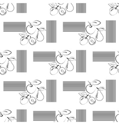 Apples and pears seamless pattern contour icons vector image