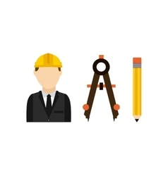 Architect with tools isolated icon design vector