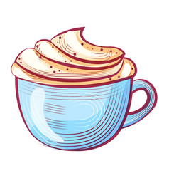 aroma drink with whipped cream coffee vector image
