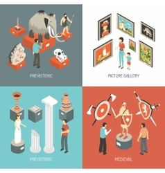 Art Museum 4 Isometric Icons Square vector image