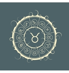 Astrology symbols in circle Bull sign vector image