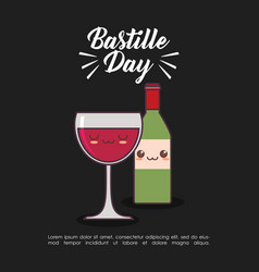 Bastille day celebration card with wine kawaii vector