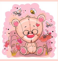 Bear with flowers vector