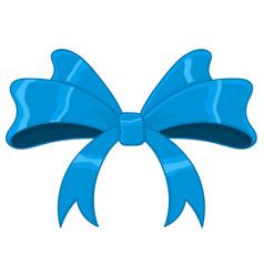 Blue silky ribbon bow vector