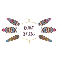 Boho Style Frame Border with Decorative Bird vector