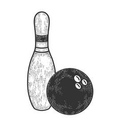 Bowling pin and ball sketch vector