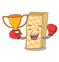 Boxing winner waffle mascot cartoon style vector