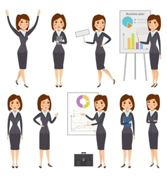 Business presentation woman set vector image