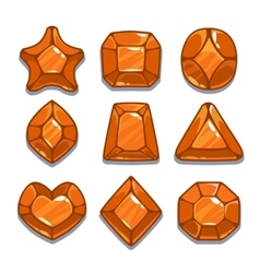 Cartoon orange different shapes gem set vector image
