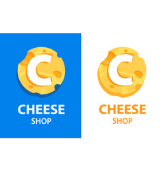 cheese shop - round emblem on blue and vector image