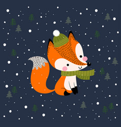 christmas and new year greeting card with fox vector image
