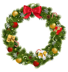 Christmas wreath with garland vector