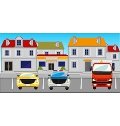 City and parking the cars vector