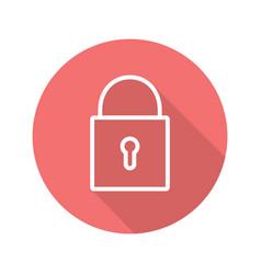 Closed lock flat linear long shadow icon vector