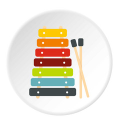 Colorful xylophone toy and sticks icon circle vector