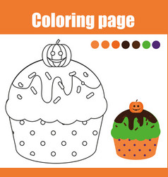 Coloring page with halloween cupcake drawing kids vector