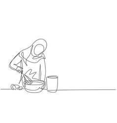 Continuous one line drawing arabian woman talks vector