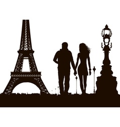 Couple Strolling the Streets of Paris vector