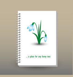 Cover of diary notebook with ring spiral snowdrop vector