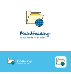 creative shared folder logo design flat color vector image
