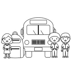 cute little students group with bus vector image