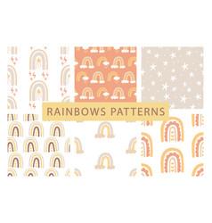 cute rainbows seamless patterns set vector image