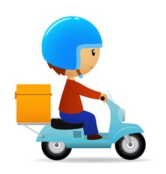delivery cartoon scooter with big orange box vector image