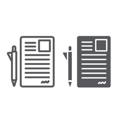 document and pen line and glyph icon office and vector image