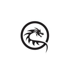 Dragon flat color logo template vector