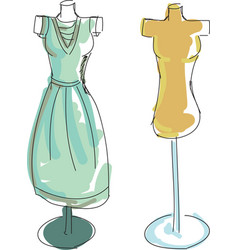 drawn colored dress form vector image