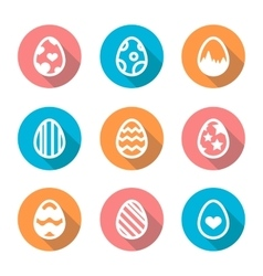 Easter egg icon set in a flat design with long vector image