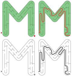 Easy alphabet maze - letter m vector