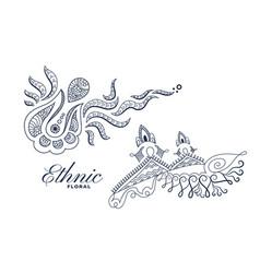 Ethnic style floral decoration art set design vector