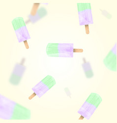 falling ice cream popsicles green and lilac pastel vector image