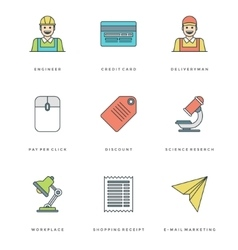 Flat line simple icons set Thin linear stroke vector