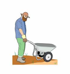 Gardener with a wheelbarrow vector