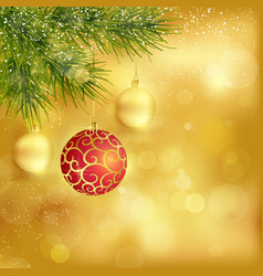 Golden Christmas background with baubles and fir vector image