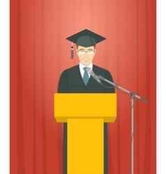 Graduation ceremony speech by a man graduate at vector image