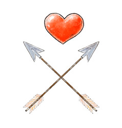 hand drawn red heart and vintage arrows design vector image