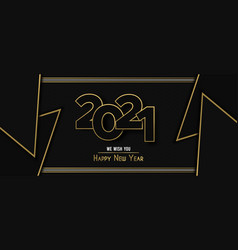 Happy new year 2021 gold luxury triangle banner vector